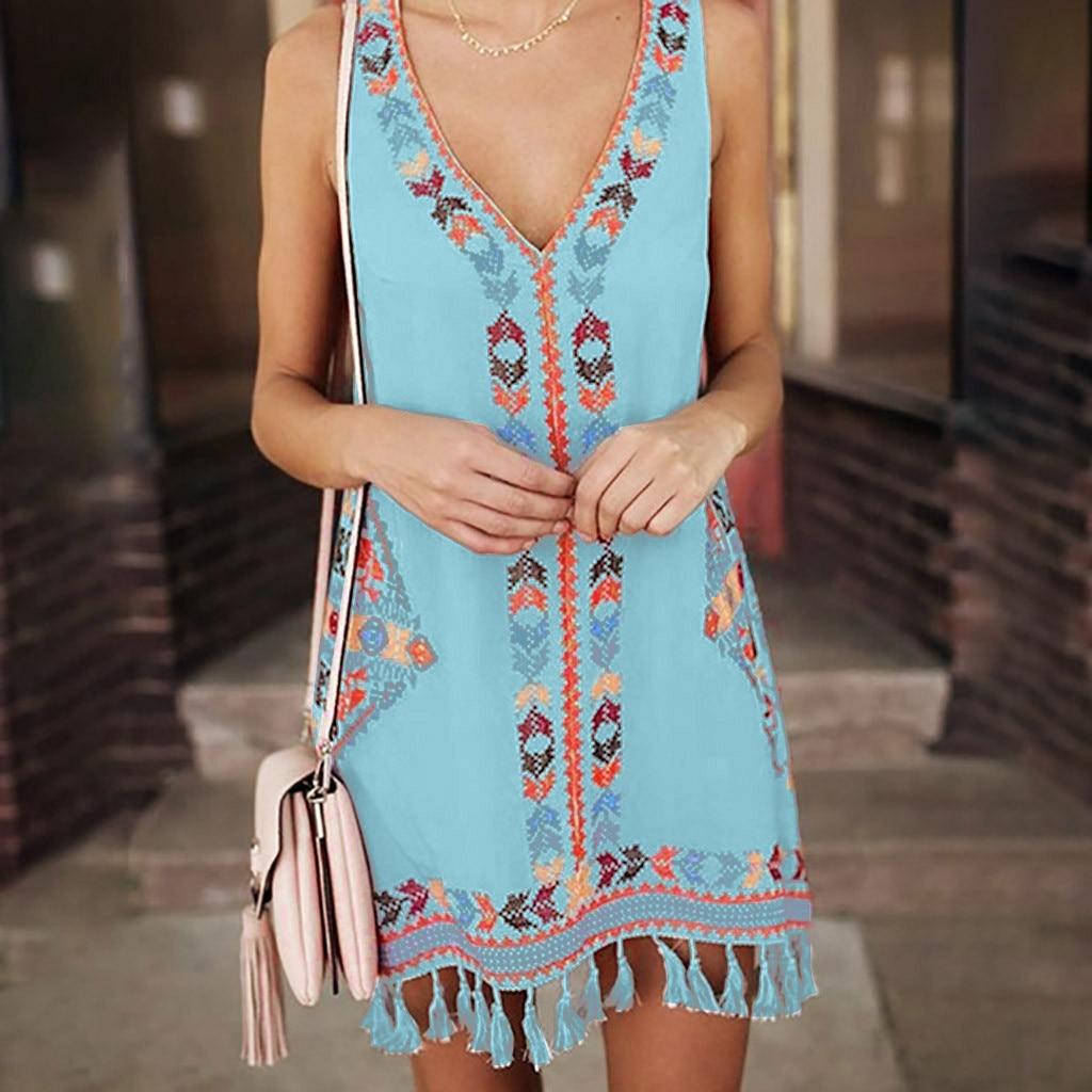 Womens Summer Beach Dress Casual Cotton Linen Tassel Hem Sleeveless V Neck Tank Tops Bikinis Cover-Ups Vintage Bohemia Ethnic Printed Mini Dress
