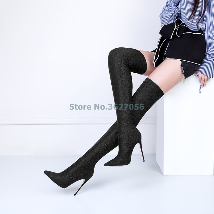 Solid Black Brown Purple Blue Gray Stretch Fabric Thin High Heel Long Boots Print Flower Over The Knee Sexy Women Long Boots pointed toe over the knee long boots apricot black gray faux suede thin high heel long boots sexy stretch fabric lady sock boots