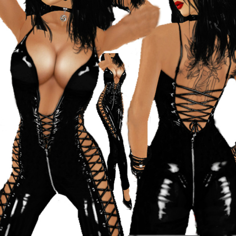 New Gothic Solid Black Halter Jumpsuit Faux Leather Sleeveless Lace Up Catsuit Hollow Out Clubwear Deep V Pole Dance Costume