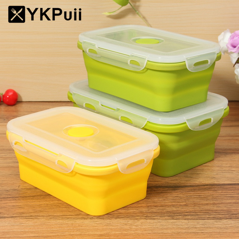 YKpuii Silicone Collapsible Portable Lunchbox Bowl Bento Boxes Folding Food Storage  Container Lunchox Eco Friendly
