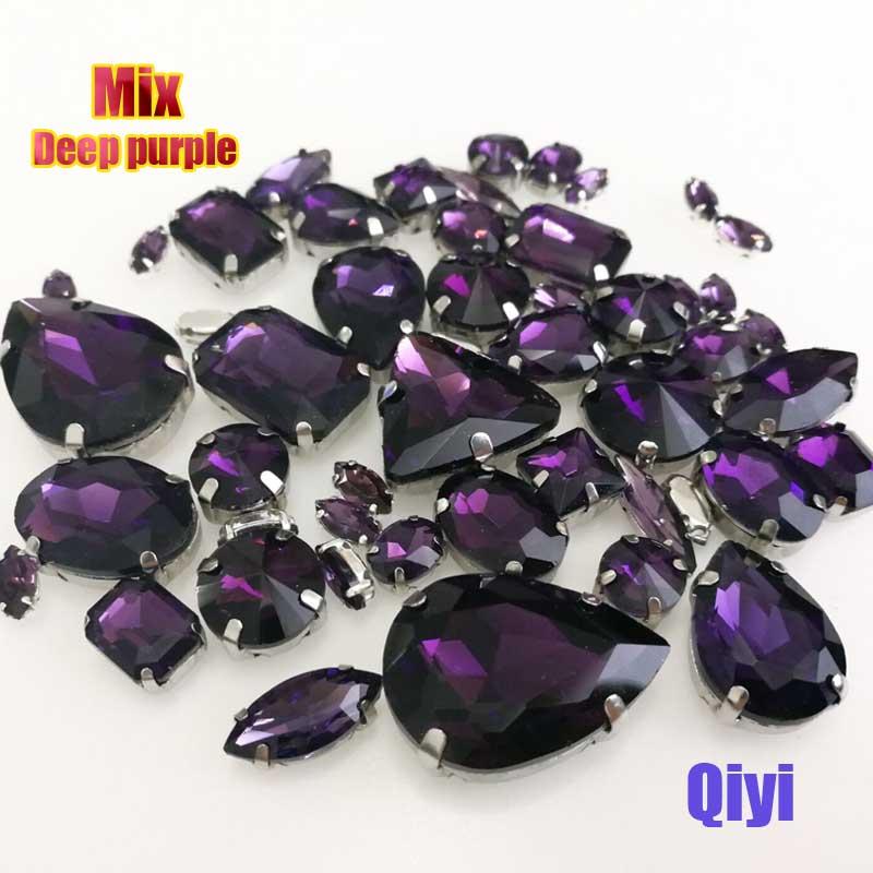 Vendre à perte! 50 pcs/sac de haute qualité forme mixte deep purple en verre coudre sur griffe strass, bricolage vêtements accessoires SWM016