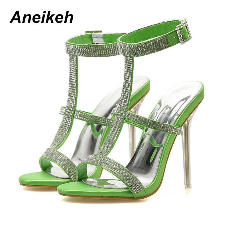 Aneikeh 2019 PU Gladiator Rhinestone Thin High Heel Sandals Women Pointed Toe Buckle Strap Women Shoes Blue Green Size 35-40Aneikeh 2019 PU Gladiator Rhinestone Thin High Heel Sandals Women Pointed Toe Buckle Strap Women Shoes Blue Green Size 35-40