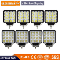 8pcs 4inch Square 48W Led Work Light Flood Spot Led Driving Light For 4WD 4x4 Offroad