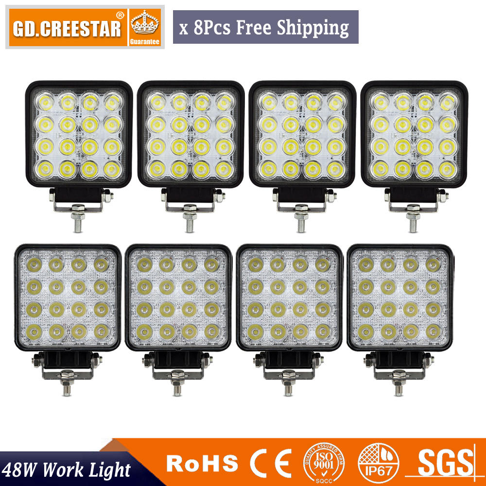 48 Watts 4-palcový led LED pracovní světlo povodňové bodové LED osvětlení pro 4WD 4x4 Offroad Truck Boat Marine 12V 24V mlhová lampa x8pcs