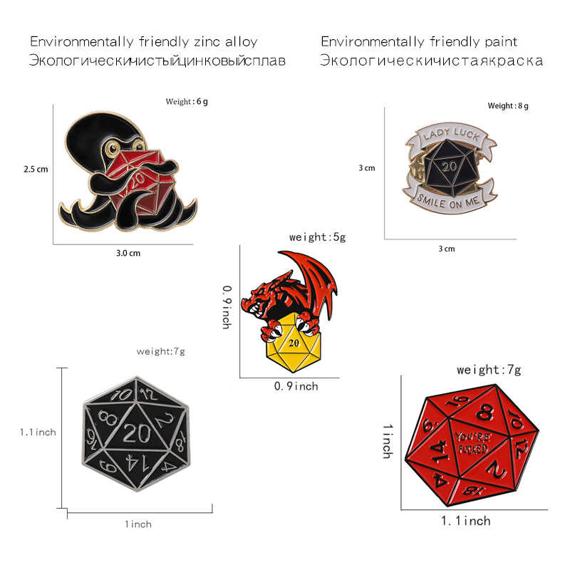 20 Dadu Sisi Permata Pin Naga Gurita Punk Bros Lencana Fashion Enamel Ransel Pin untuk Teman Keren Hadiah Perhiasan Grosir
