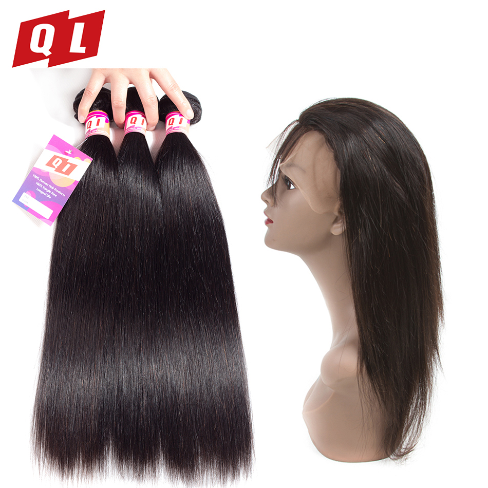 QLOVE HAIR Peruvian Straight 3 Bundles With 360 Lace Frontal Natural Color Human Hair Weave Bundles