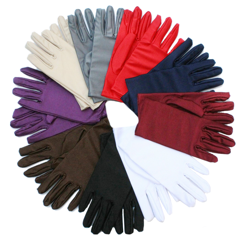 Cheap Women Wrist Plain White Performance Gloves Short Waitress Gloves White Manner Ceremonial Gloves For Ladies