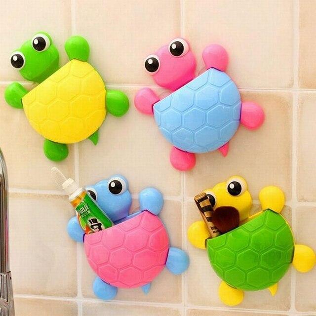 Carino Turtleg Spazzolino di Aspirazione A Parete Bagno Imposta Cartoon Ventosa