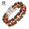 Kalen nuevo bike enlace pulseras de cadena de acero inoxidable 316l de los hombres orange pesado chunky pulsera de cadena de bicicleta accesorios masculinos regalos