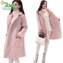 2017New Women Winter wool jacket Korea plus velvet thick coat Double breasted Long section deerskin lapel lapel coat parkas xh84