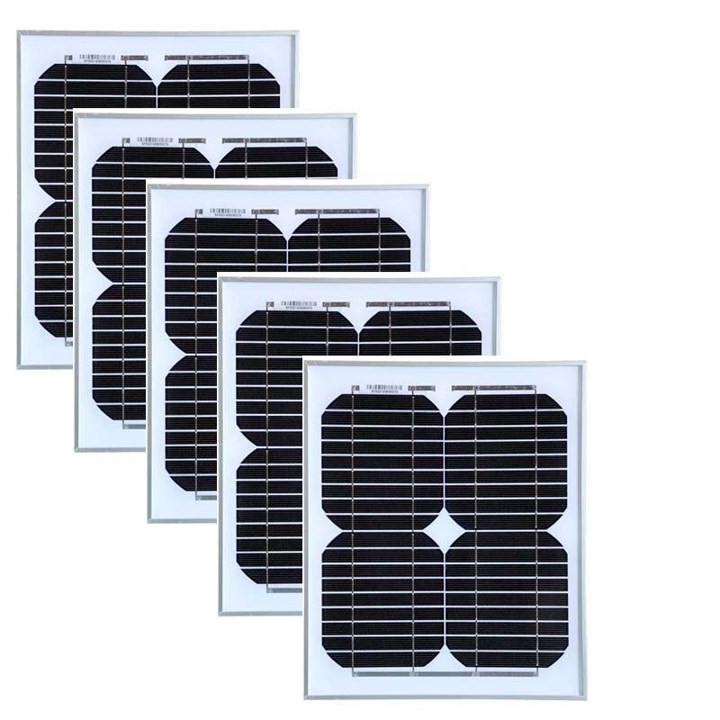 A Grade 12v 10w Modulo Solar Monocrystalline 5Pcs Solar Panels 50w Solar Battery Charger Solar Camping  Caravan Car Light LED