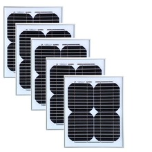 A Grade 12v 10w Modulo Solar Monocrystalline 5Pcs Panels 50w Battery Charger Camping  Caravan Car Light LED