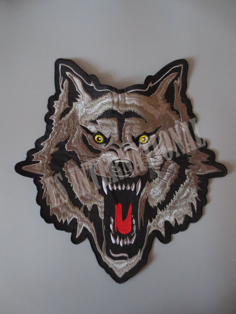 12 inches wolf large Embroidery Patches for Jacket Back Vest Motorcycle Biker