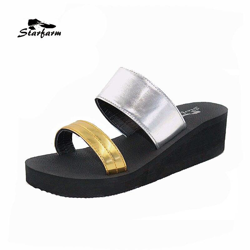 STARFARM Women Casual Shoes Slides Sandals Wedge Heel Gold Silvery Platform Slippers 2 5cm low heel rhinestones slides women sandals shoes 2016 female slippers hoof heel real photo ladies slides new arrival