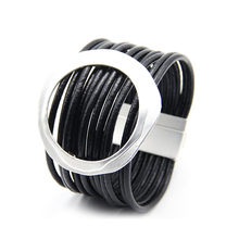 ZG Bracelets Multi-layer Winding Wrap Leather Bracelet Fashion Women Hand Jewelry Summer Accessories for Female in Black color(China)
