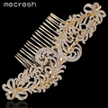Mecresh New 2017 Elegant Top Crystal Gold Plated Wedding Accessories Leaves Combs Tiara Bridal Hair Jewelry FS095