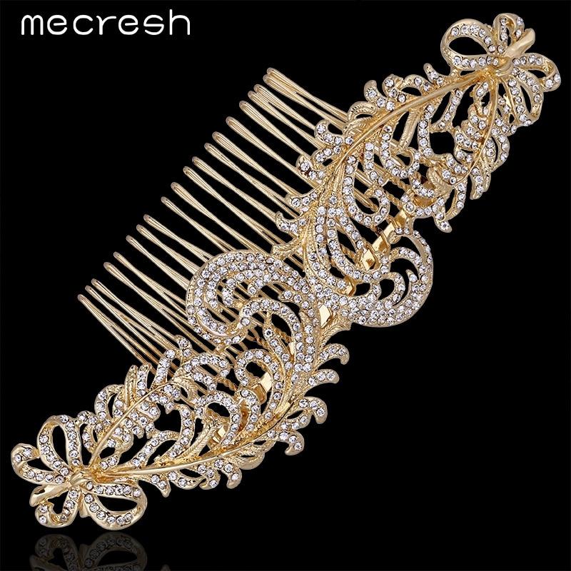 Prix pour Mecresh Nouveau 2017 Élégant Top Cristal Or-Couleur Accessoires De Mariage Feuilles Peignes Diadème De Mariée Bijoux De Cheveux FS095