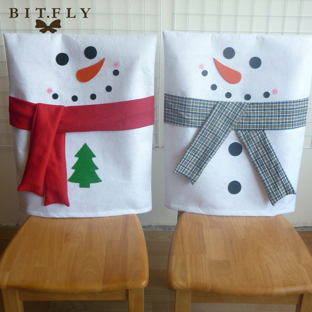Diy christmas chair covers - Bitfly 2 Pcs Christmas Decoration Snowman With Scarf Chair Cap Covers Hood Christmas Home Party Dinner Table Diy Decor Supplies