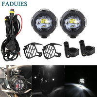 FADUIES LED Motorcycle Auxiliary Fog Lights Protect Cover Safety Driving Lamp For BMW K1600 R1200GS ADV F800GS auxiliary lights