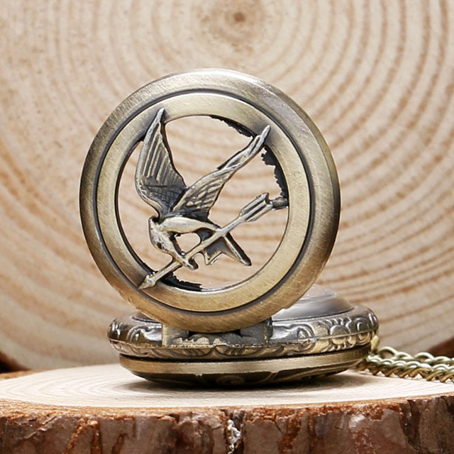 wholesale low price good quality cheap hot retro the hunger games two bronze vintage fashion cool bird quartz pocket watch