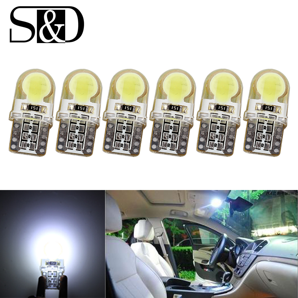 6 X Auto T10 LED W5W LED Bulbs White 194 168 LED Lamp 501 COB silicone shell Car LED Lights Super Bright Turn Side Lamp 12V D030