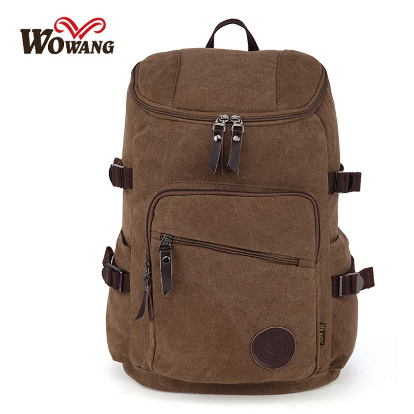 Men Canvas Backpack College Student School Backpacks Bags for Teenagers Vintage Mochila Casual Rucksack Travel Daypack Male W003