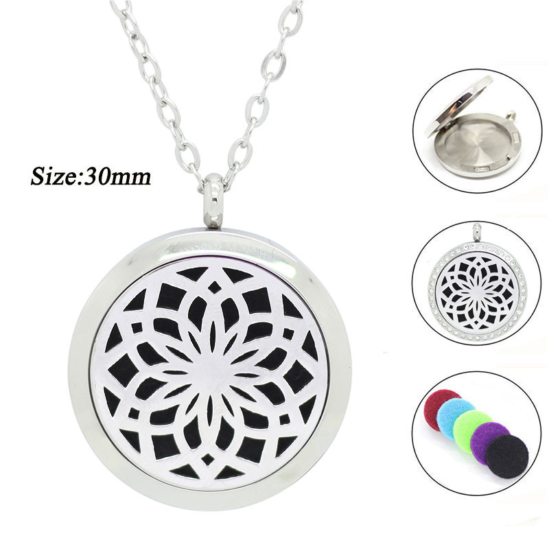 With chain as gift! 316L Stainless Steel Women parfum pendant with crystals 30mm Essential Oil Diffuser Aromatherapy Necklace