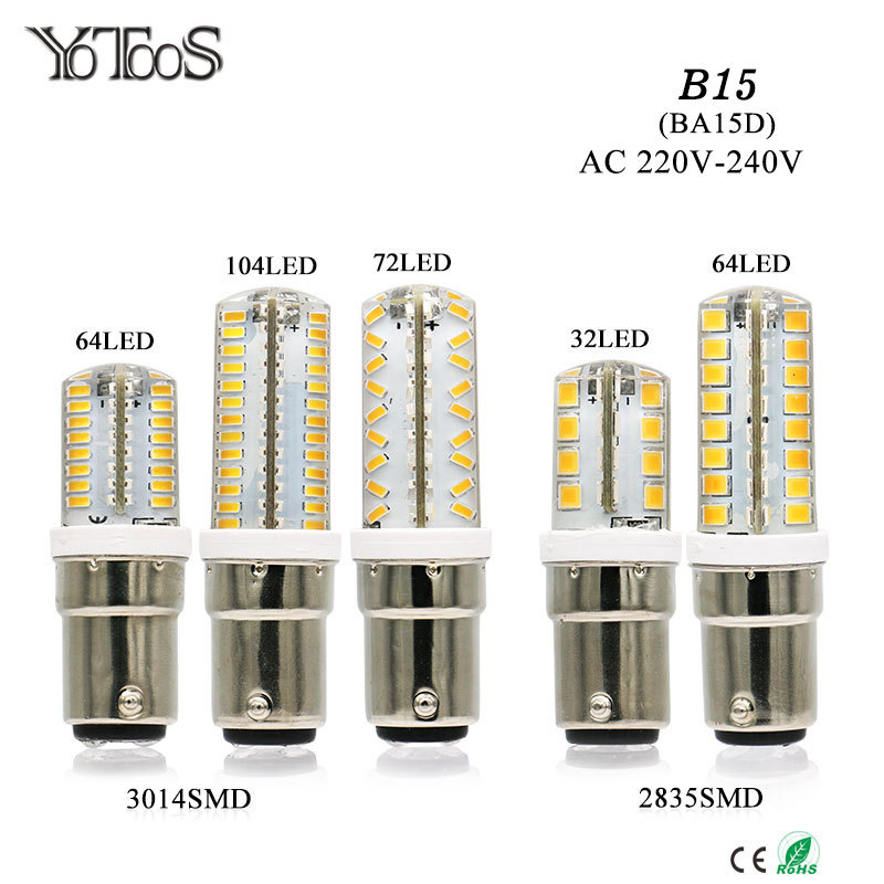 YOTOOS LED Lights B15 BA15D Led Bulb Lamp 220v 230v 240v Mini Lamp 3014 2835 SMD Silicone LED Corn Lamp Bulb Replace Home Lights 10pcs led g4 lamp 220v g4 led bulb light ac dc 12v 10w 6w smd 2835 3014 spotlight 360 beam angle replace for crystal chandelier
