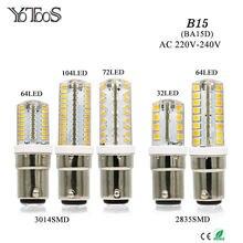 Yotoos luzes led b15 ba15d lâmpada led 220v 230v 240v mini lâmpada 3014 2835 smd silicone led milho lâmpada substituir casa luzes