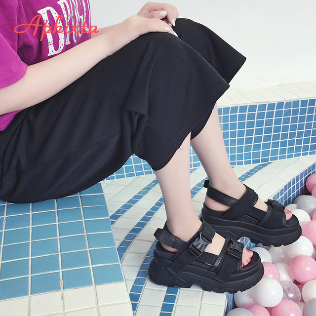 Aphixta 8cm Platform Sandals Women Wedge High Heels Shoes Women Buckle Leather Canvas Summer Zapatos Mujer Wedges Woman Sandal 2