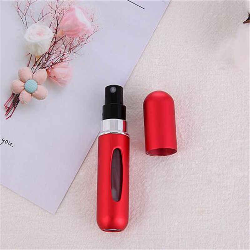 Gorąca sprzedaż moda Mini wielokrotnego napełniania butelki perfum w puszkach sprężone powietrze dolna pompa perfumy atomizacji dla podróży 5ml potrzeb podróży