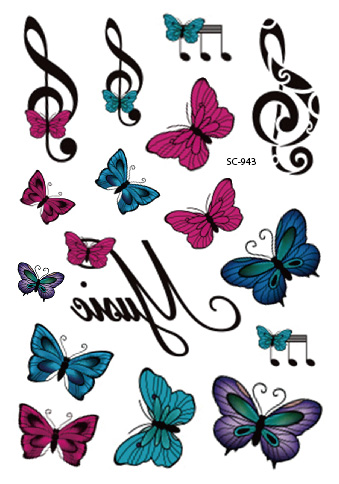 Sc2943 Large Taty Music Notes Butterfly Water Transfer Body Art
