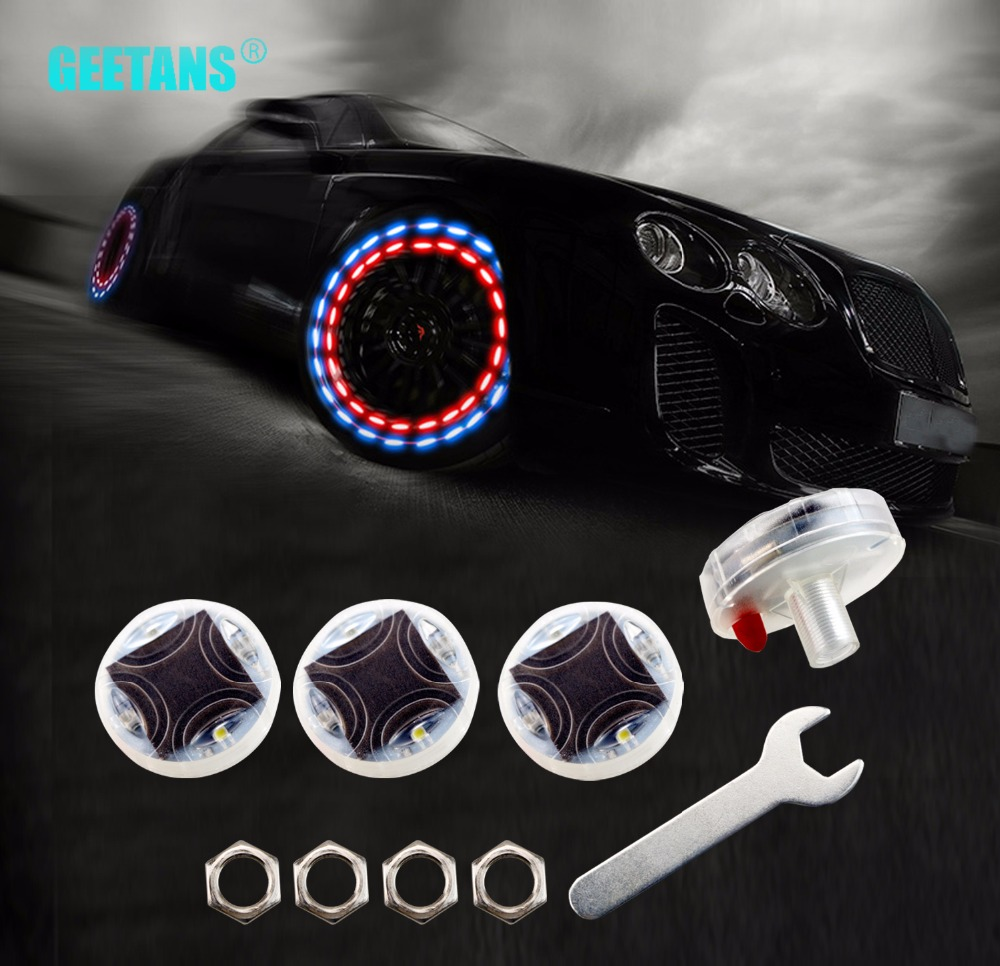 цена на GEETANS Car Waterproof Solar Energy Wheel Light Decorative Flashing Colorful LED Tire Light Gas Nozzle Cap Motion Sensors BG