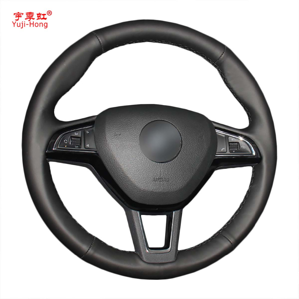 Yuji-Hong Car Steering Wheel Covers Case for SKODA Octavia 2017 Hand-stitched Artificial Leather Cover