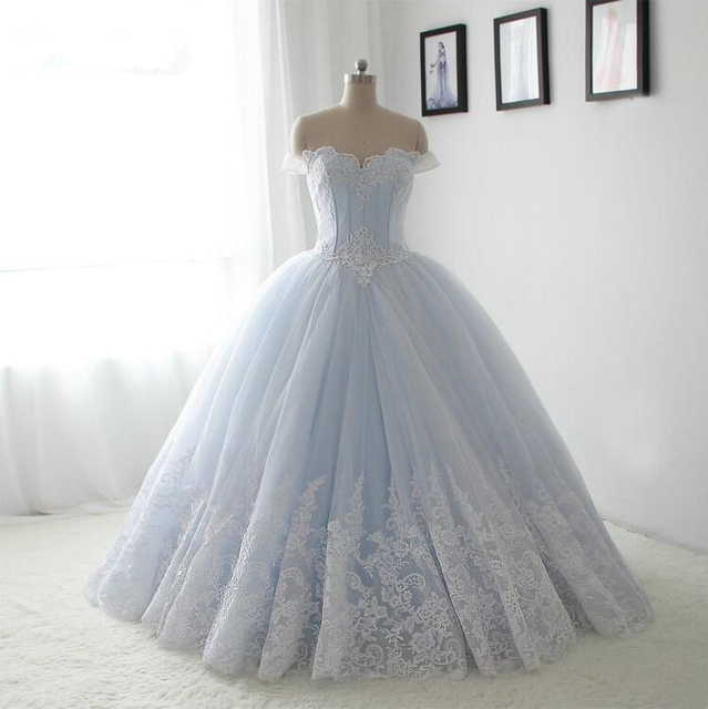 291dfd3f862 Ball Gown Wedding Dresses 2017 Off-the-Shoulder Blue Satin White Tulle Lace  Appliques Floor Length Wedding Gown Robes De Mariage