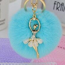 Gift Pompom Rabbit Fur Plush Ball Key Ring New Design Dancing Girl Rhinestone Jewelry Chic Rabbit Hair Car Bag Charm For Women