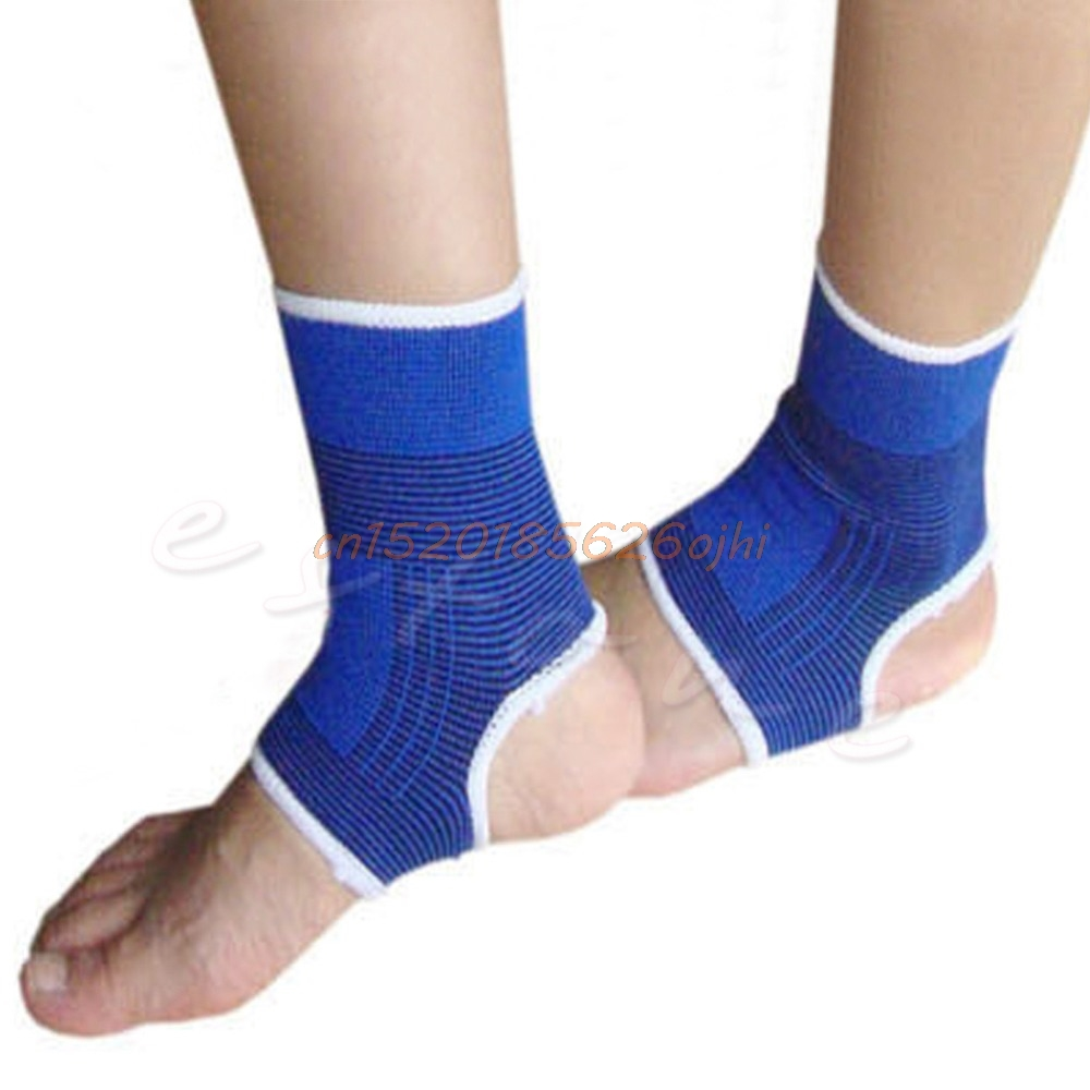 2 pcs Elastic Ankle Brace Support Pad Guard Achilles Tendon Sports Strap Foot ...