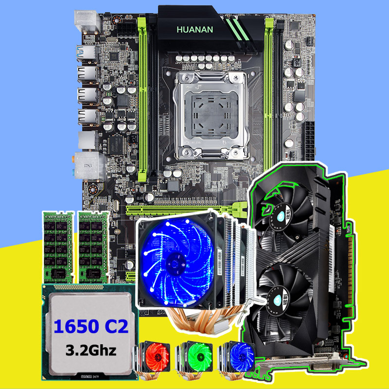 HUANAN ZHI X79 motherboard with M.2 slot video card GTX1050Ti 4G CPU Xeon E5 1650 3.2GHz with cooler RAM 16G(2*8G) 1600 REG ECC цена