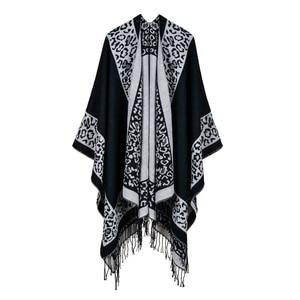 Image 1 - 2019 frauen Outwear Winter Schals Herbst Kaschmir Ponchos Decke Damen Stricken Schal Cape Cashmere Schal Poncho Dame Pashmina