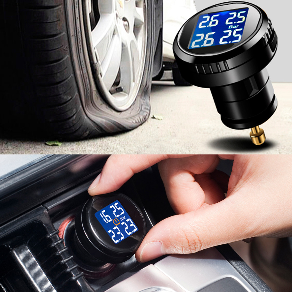 Steelmate TP-74B Professional Tire Pressure Monitor System Cigarette Plug Charger with 4 External Sensors Alarm LCD Display Hot steelmate tp 03s tpms tire pressure monitoring system with lcd display cigarette plug 4 valve cap external sensors steel mate