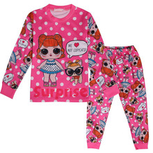 Children Clothing Chinese New Year Girls Pajamas Autumn and Winter Home Service Set Letter Doll Print Girls Outfit