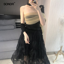 SONDR Clashing mesh binding irregular top slim lace shirt 2019 summer T-shirt