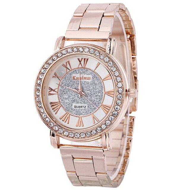 fedeb5fda96 Numeral Romano de Aço Moda Relógios de Pulso das senhoras Strass Banhado A  Ouro Jóias Pulseira