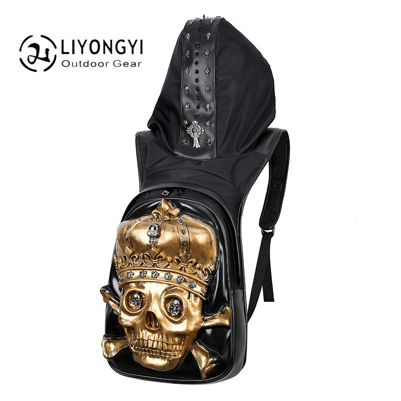 2017 Fashion Personality 3D Skull Crown PU Leather backpack rivet School Backpack Men Travel Bag For Teenagers Boys mochila male fashion leather backpack women travel satchel shoulder bag rivet backpack school bag for teenagers mochila feminina 1stl