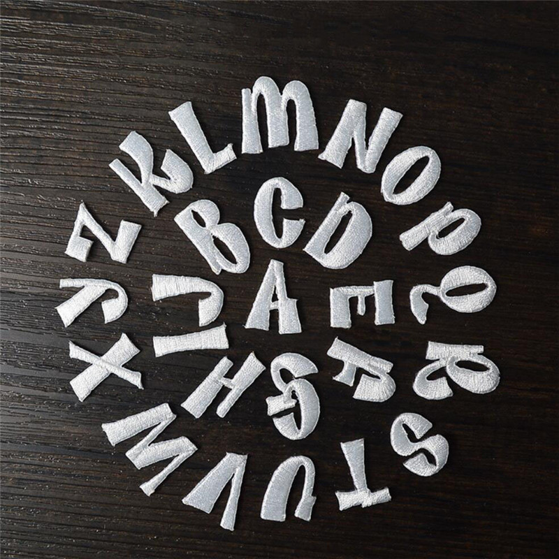 1 English Letters Alphabet Embroidered Patches White Applique Iron On Letters For Clothes Shoes Bags Application For Kids Name 100% High Quality Materials