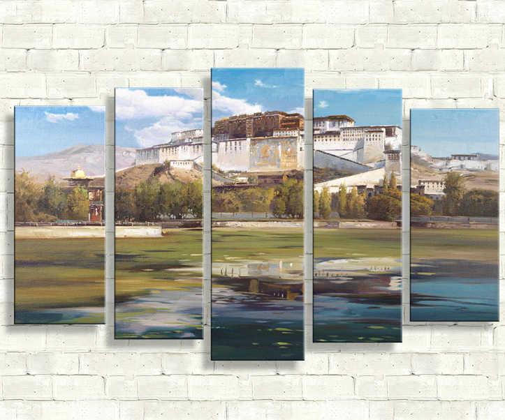 2017 картины холст Живопись 5 шт. Холст Искусство Бойцовский клуб река остров 3