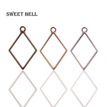 30pcs 26*40mm Alloy jewelry setting accessories rhombus charms Hollow glue blank pendant tray bezel charms DIY Handmade D6098-1