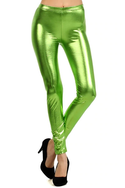 Women Colorful Metallic Leggings Sexy Liquid Metallic look Stretch Pants Costumes Plus Size Cosplay Tights Elastic Waist