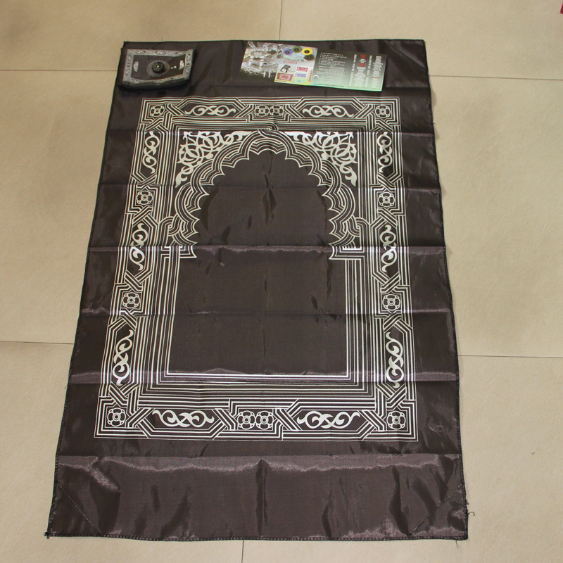 Image 5 - Muslim Prayer Rug Polyester Portable Braided Mats Simply Print  with Compass In Pouch Travel Home New Style Mat Blanket 100*60cmRug
