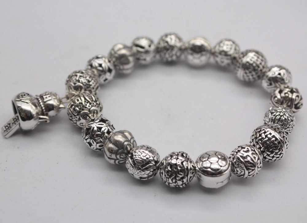 Pure S925 Sterling Silver Bracelet Hollow Beads Carved Luck Cat 10mm Bracelet For Women Man Fashion New